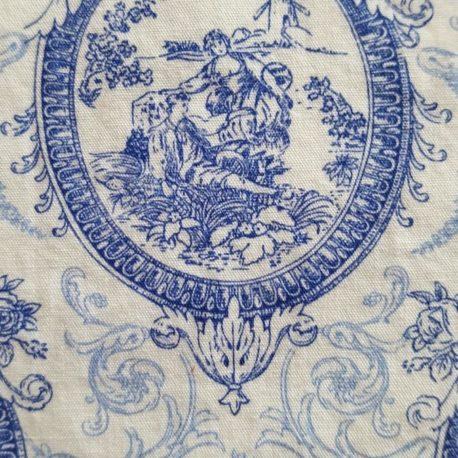 Motif de toile de jouy bleu.