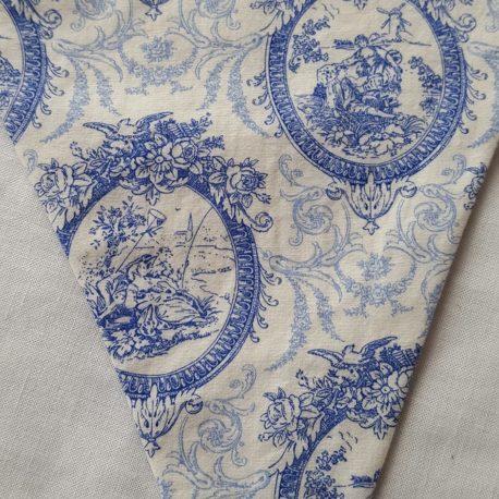 Tissu toile de jouy bleue