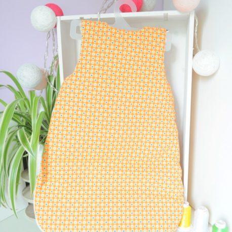 Gigoteuse Naissance tissu oeko-tex-poids orange et jaune oiseau-violet-dos