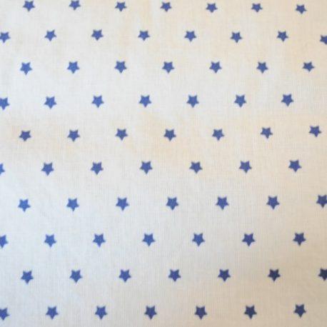 Tissu en coton oeko-tex fond blanc étoiles bleues