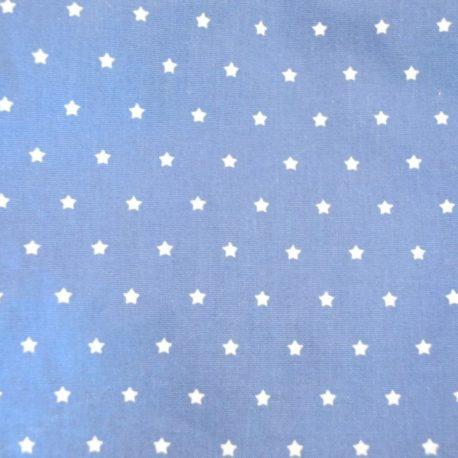 Tissu en coton oeko-tex fond bleu étoiles blanches