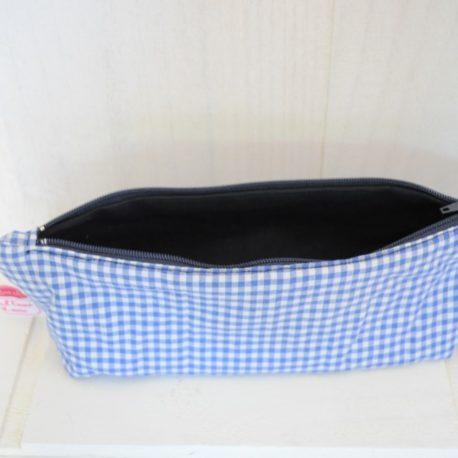 Intérieur tissu bleu marine, trousse école vichy bleu marine