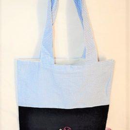 Petit sac bicolore bleu marine et vichy bleu ciel. Broderie Sunbonnet