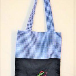Petit sac bicolore bleu marine et vichy bleu marine avec Broderie Sunbonnet