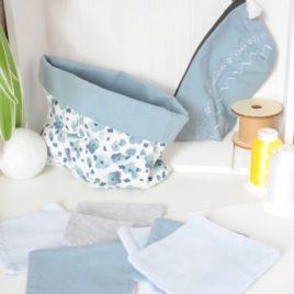 Ensemble set de lingette démaquillante lavable couleur bleue