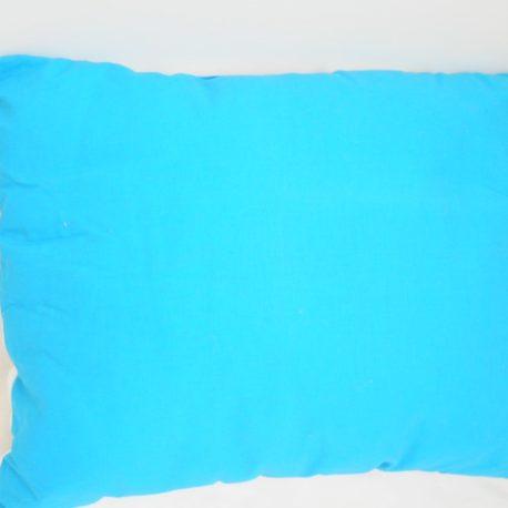 Couleur arrière bleu turquoise du coussin décoratif licorne encadrée de fleurs