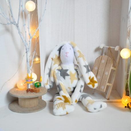 Doudou lapin en polaire baby étoilé