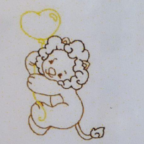 Broderie lionceau ballon